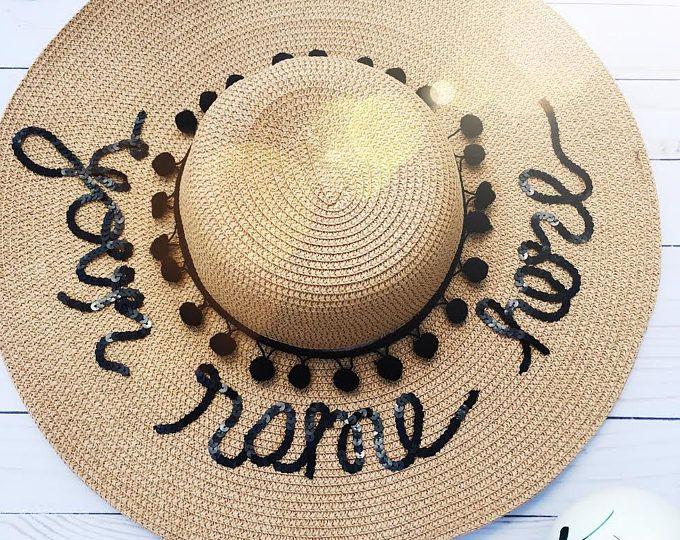 d8d58edcf20 Custom Beach Hat- Sun hat- Wide Brim Sun Hat- Custom Sun Hat- Boho Hat- Personalized  floppy hat- Bachelorette Party Hat-Gift for Her-Gift