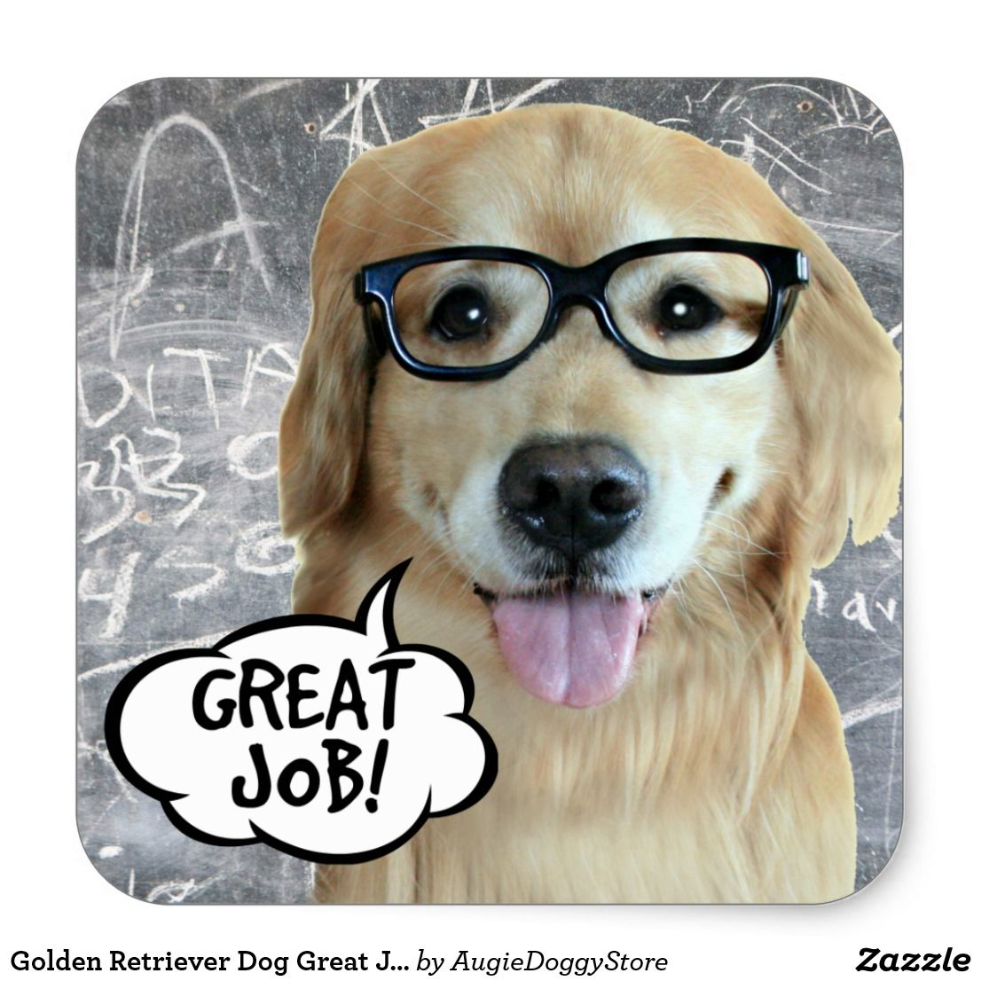 Golden Retriever Dog Great Job Teacher Reward Square Sticker