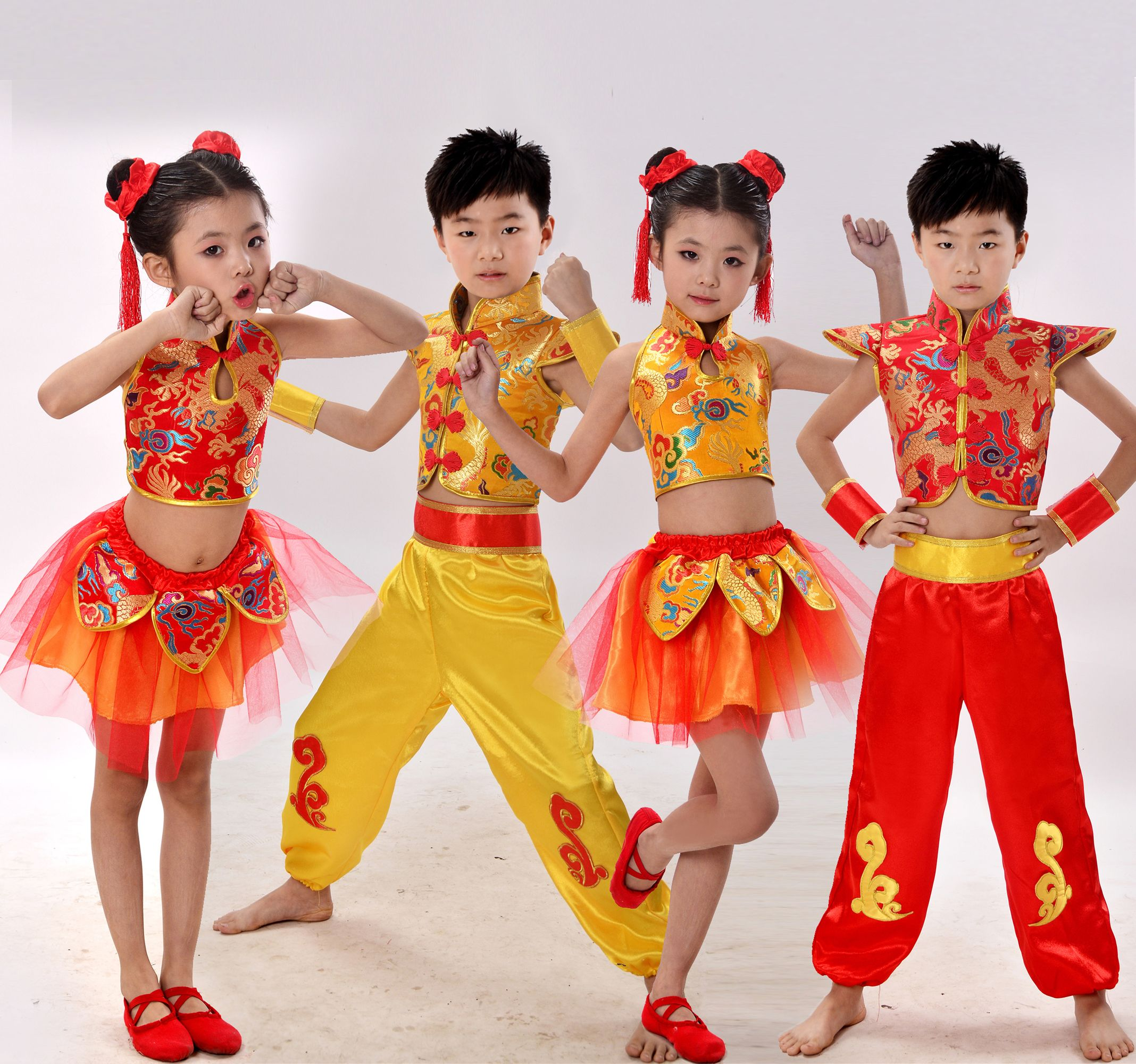 9311fdc4943c Click to Buy << children's chinese folk dance costume Kung Fu performances  yangko dance skirt suit chinese traditional dance costume #Affiliate. >>
