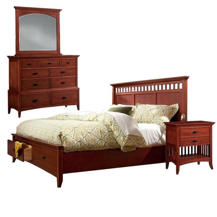 American Shaker 4-Piece King Bedroom Set in Natural Cherry ...