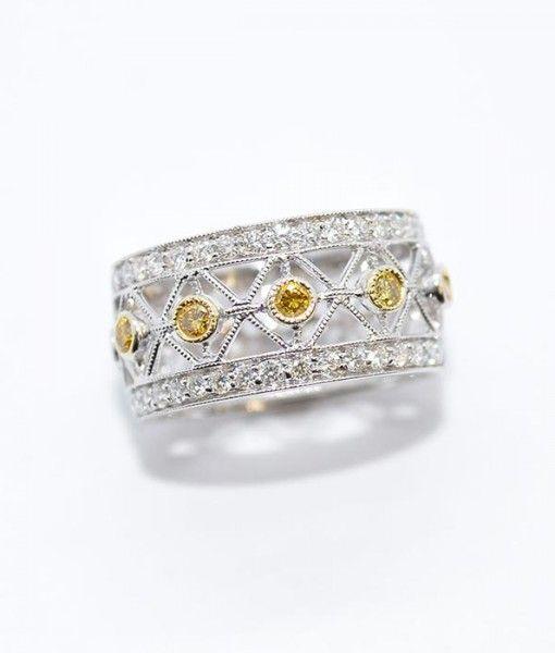 White Yellow Diamond Wedding Band Diamonds By Janet Diamond Wedding Bands Diamond Wedding Band Sets Yellow Diamond