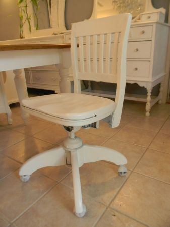 50 Old Style Wood Rolling Desk Chair Painted White Xmas Wish
