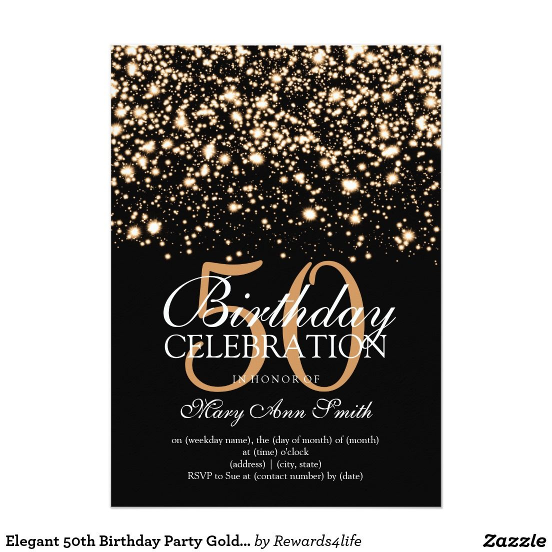 Elegant 50th birthday party gold midnight glam 5x7 paper invitations artwork designed by - Geburtstagsideen 50 ...