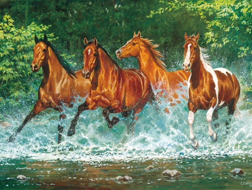 Masterpieces Chris Cummings Cascade Run Horses Jigsaw Puzzle 750 Pc Wild Horse Pictures Horses Horse Pictures