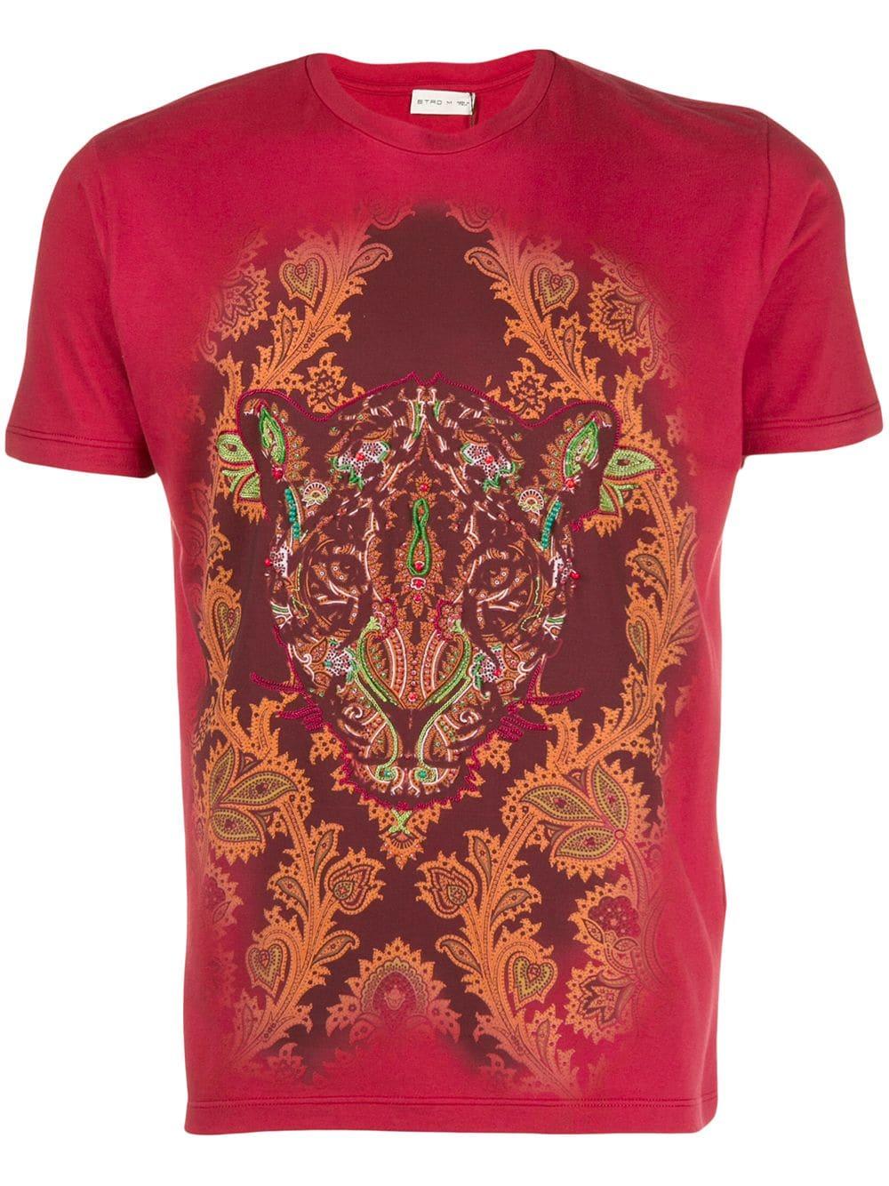 Etro Leopard Print T Shirt Red Print Tshirt Print Paisley Print