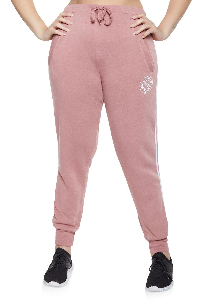 103d4d52f80 Plus Size Love Varsity Stripe Joggers - Pink - Size 2X