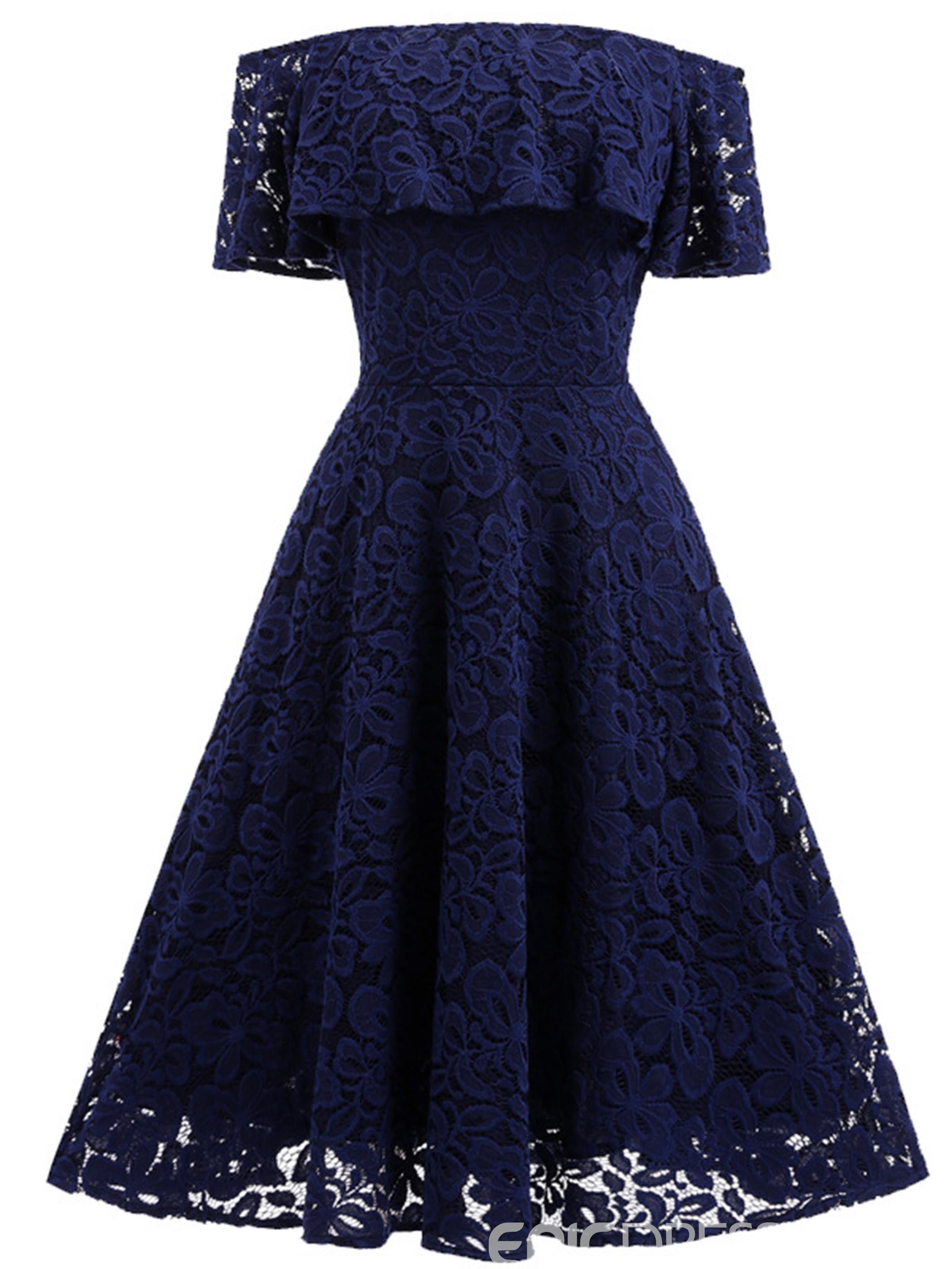 Slash Neck Empire Waist Expansion A Line Dress (mit Bildern