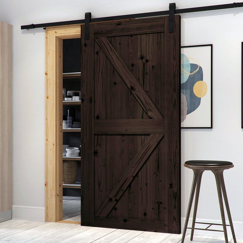 Paneled Wood Finish Northbeam Barn Door With Installation Hardware Kit Barn Door Barn Style Doors Barn Door Installation