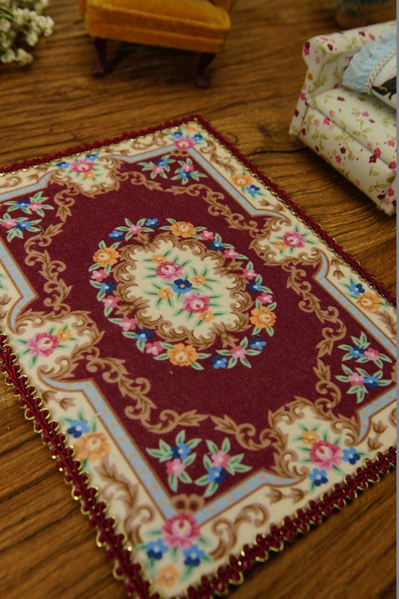 dark red victorian miniature rug floral beige nice lace etsy rugs lace garland floral rug