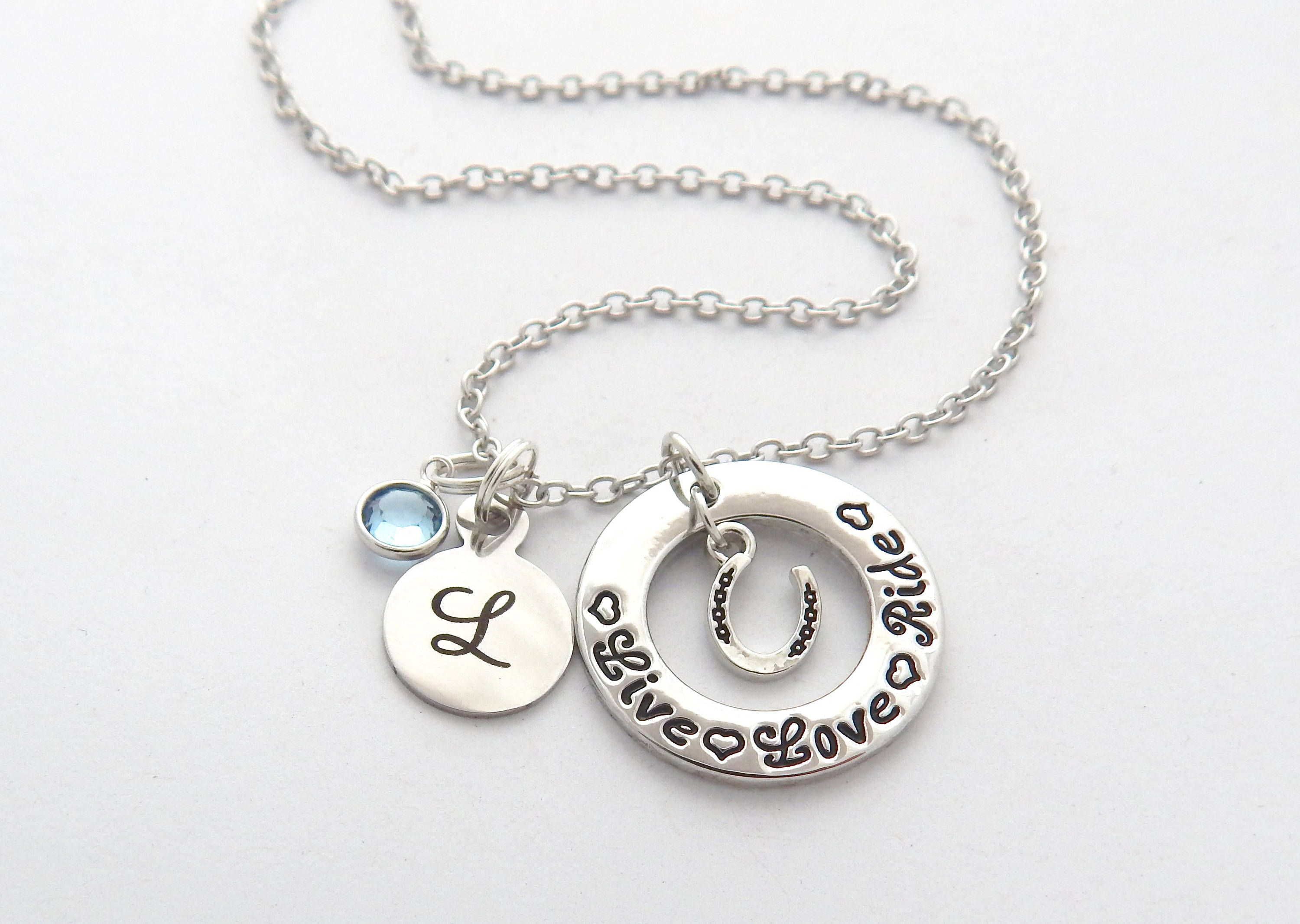 sterling necklace personalized silver sea horse initial products