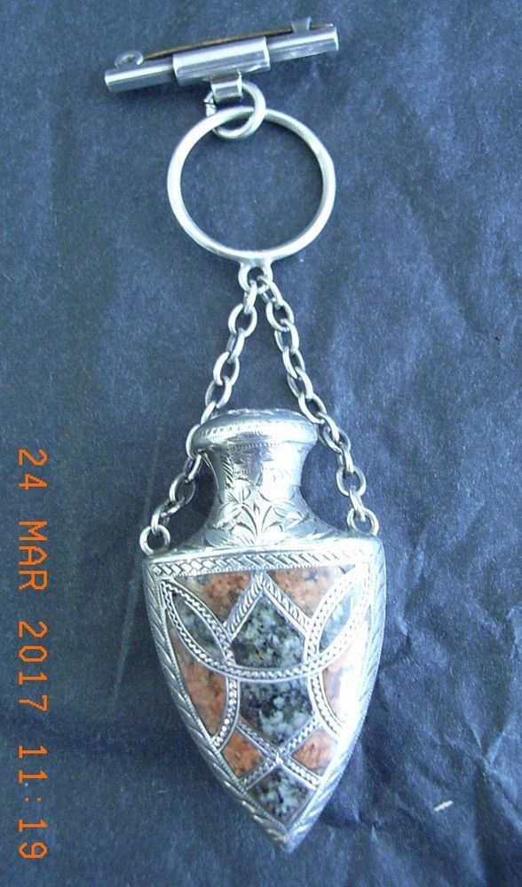 Scottish Agate & Silver Shield Scent Bottle with Screw Top & Chatelaine