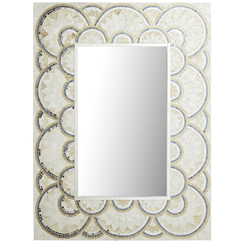 Multi Colored Pearl & Gold Capiz Mirror  Wood