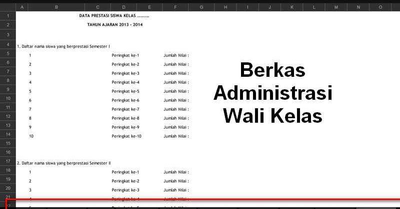 Berkas Administrasi Wali Kelas Yang Wajib Dimiliki Format Excel Berkelas Pendidikan Aplikasi