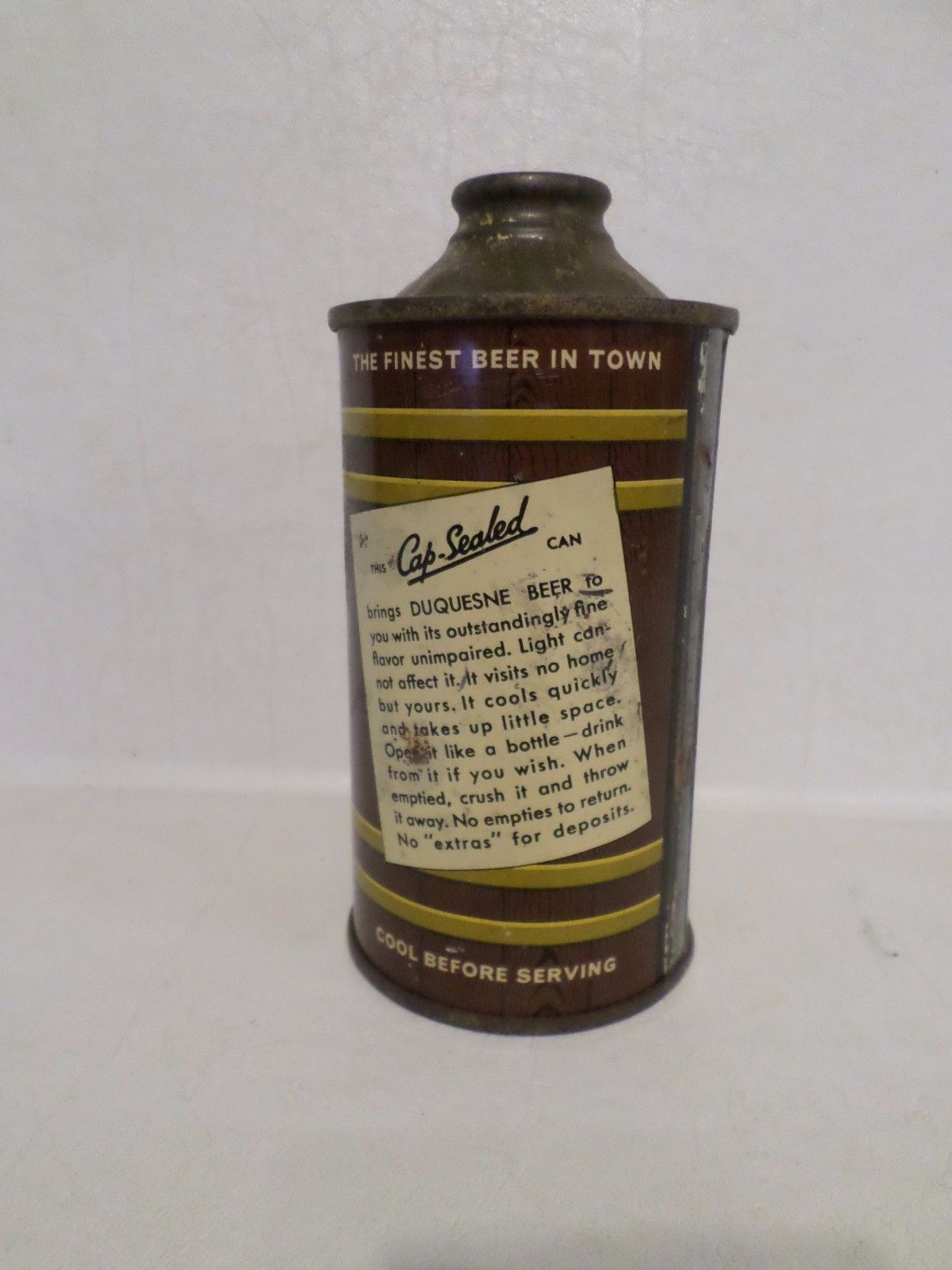 Vintage RARE 1930's Duquesne Can O Beer Low Profile Pittsburgh Cone Top Beer Can   eBay