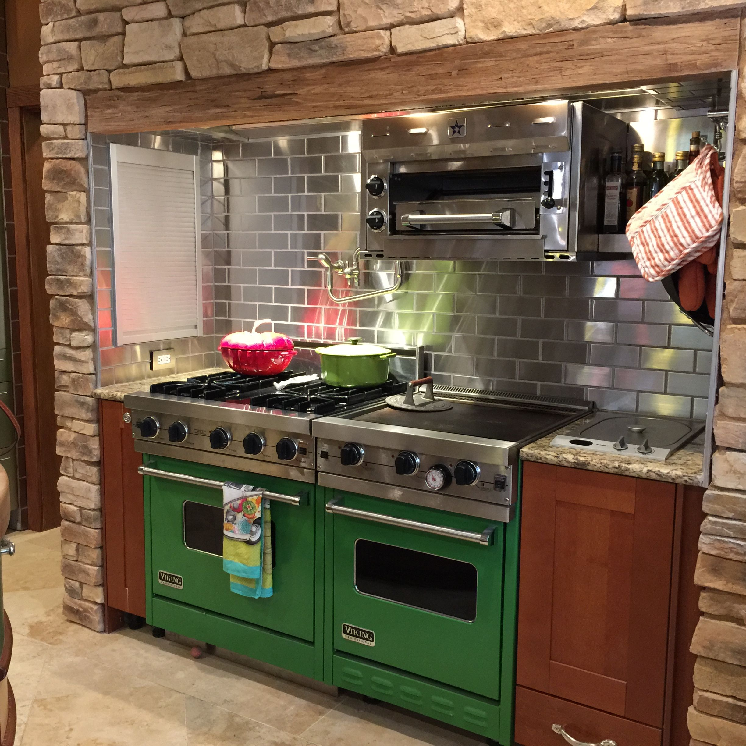 A gorgeous customer kitchen design with green stoves stainless welcome to stainless steel tile we manufacture high quality subway backsplash tile for kitchens bathrooms and outdoor areas dailygadgetfo Choice Image