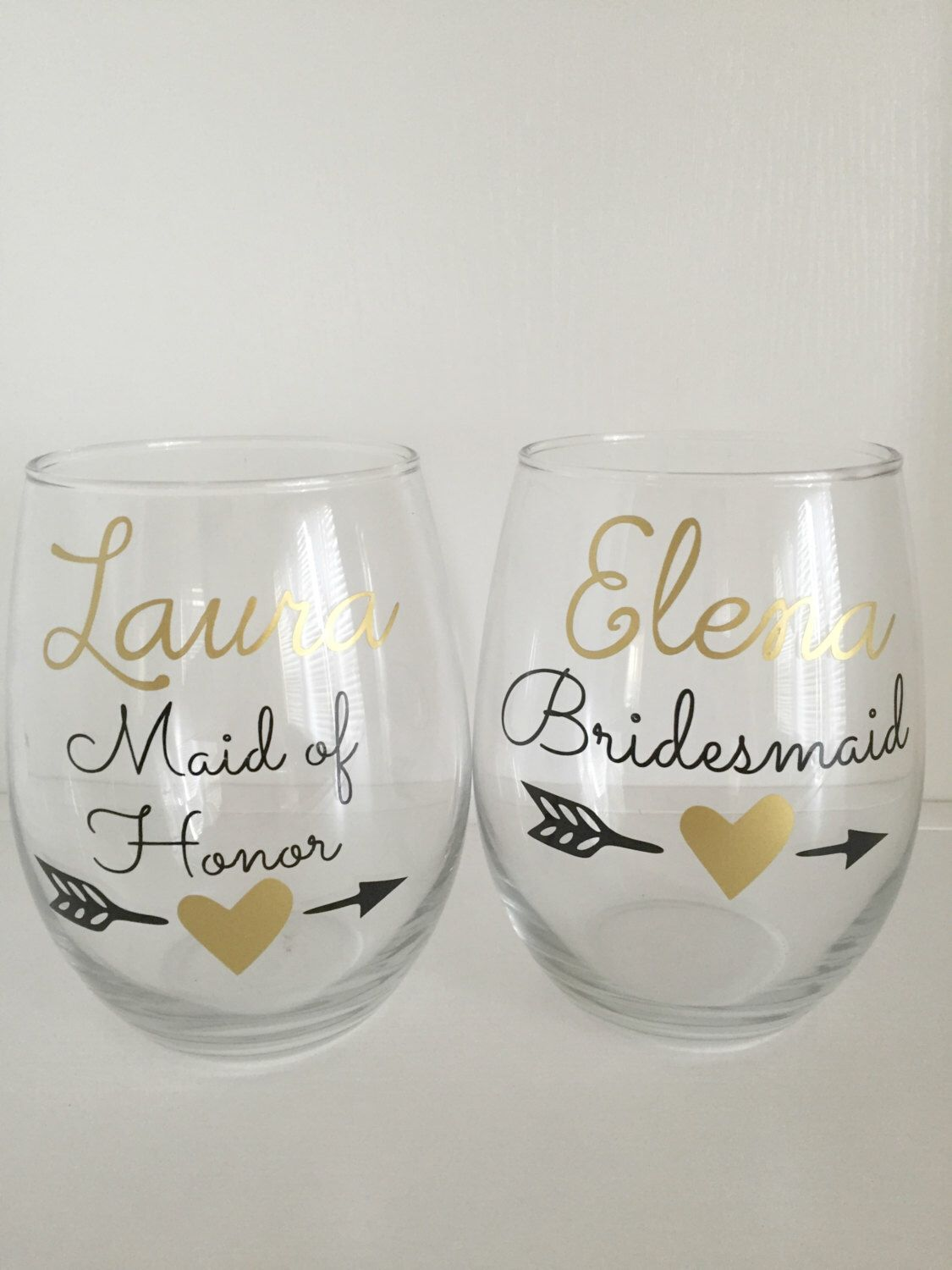 6 Personalized Bridesmaid Gift Gold Heart Arrow Gifts Wedding Name