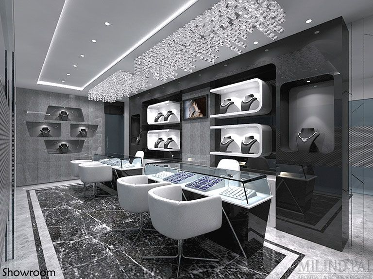 A jewellery showroom at bangalore interior design for Jewellery showroom interior design images