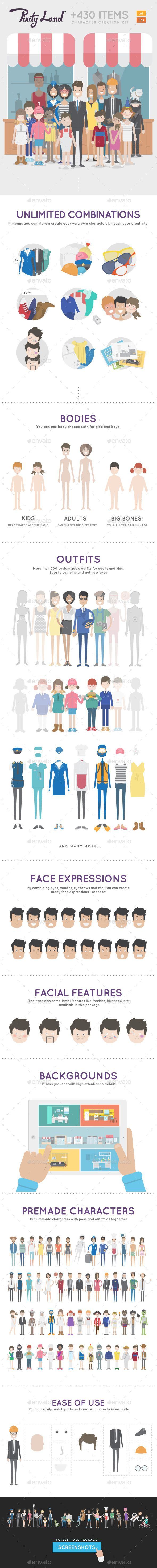 Pixity Character Creator Kit - People Characters.  Create groups of graphic designs that businesses or graphic designers for businesses want to buy.