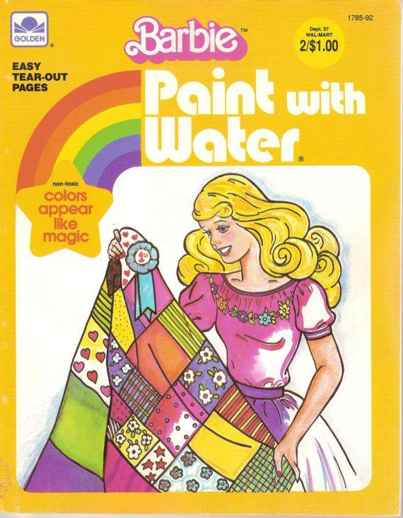 1983 Barbie Paint With Water Book Unused Vintage Coloring Book Ken And Barbie 1980 39 S Ephemera Vintage Golde Vintage Coloring Books Barbie Barbie Books
