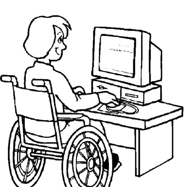 Good Disability Girl On Computer Coloring Page With