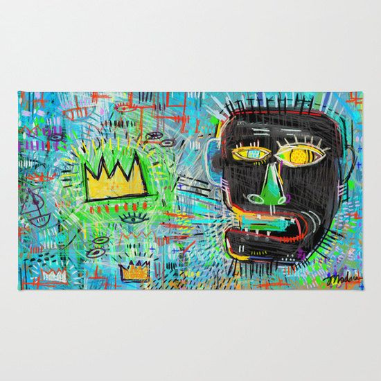 Funky Basquiat Rug Urban Design Bright Graffiti For Kitchen Bathroom Or Living Room Great Housewarming