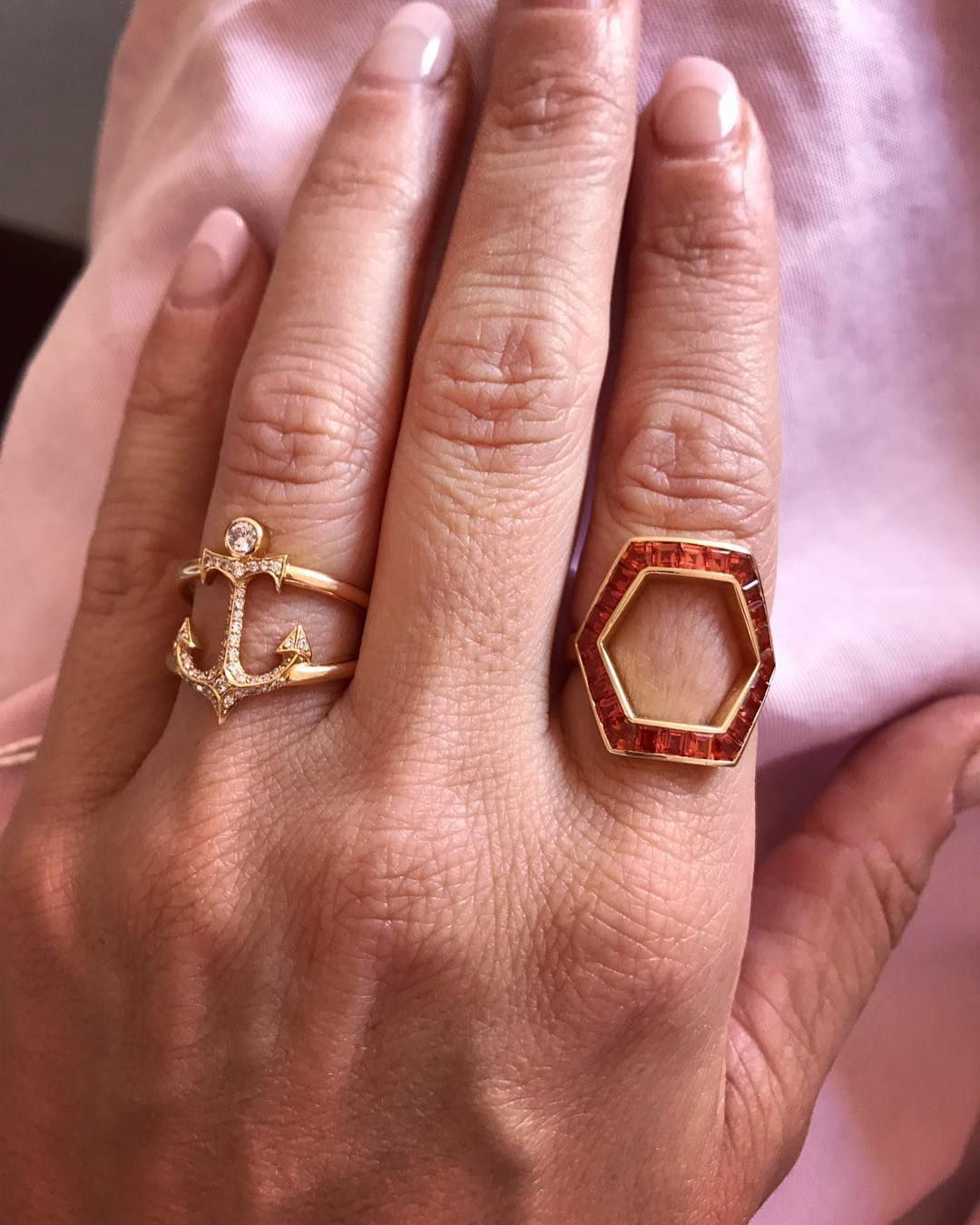 Orange sapphire HEX and rose gold pink diamond Anchor ring   Jessica ...