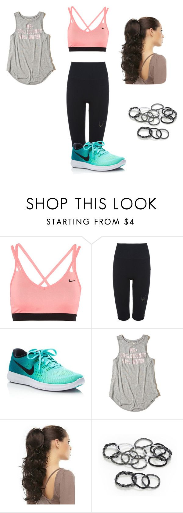 """""""sports for fashion"""" by trinity-athena ❤ liked on Polyvore featuring NIKE, Lucas Hugh, Hollister Co. and scunci"""