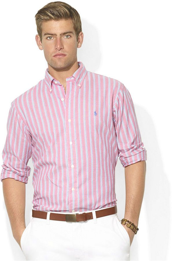 $98, Polo Ralph Lauren Custom Fit Long Sleeve Striped Oxford Sport Shirt