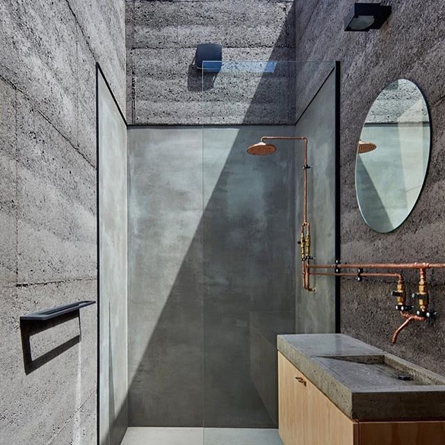 Bathroom skylight, exposed copper plumbing & concrete surrounds ~ Balnarring Retreat by Branch Studio Architects 💭 Photographed by Peter Clarke ~ RG LUC Design 📷