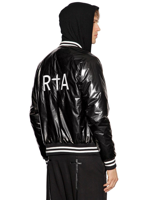 Rta Logo Embroidered Shiny Bomber Jacket Rta Cloth Bomber Jacket Jackets Cool Jackets [ 1500 x 1125 Pixel ]