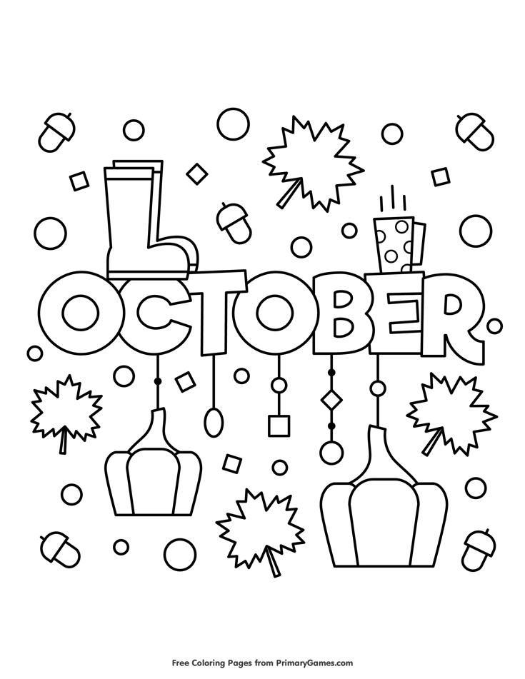 Fall Coloring Pages eBook: October | Fichas preescolar, Decoración ...