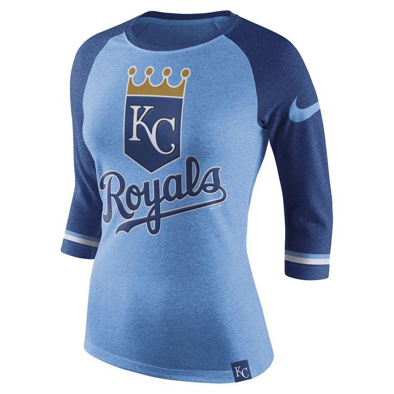 newest 497fa 62b15 Women s Nike Light Blue Kansas City Royals Tri-Blend 3 4-Sleeve Raglan T- Shirt