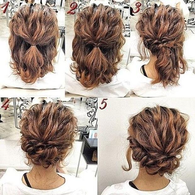 Hairstyles For Medium Curly Hair Updos Hairstyles Hairstylesforcurlyhair Mediumcurlyhair Updos Simple Prom Hair Hair Styles Short Hair Tutorial