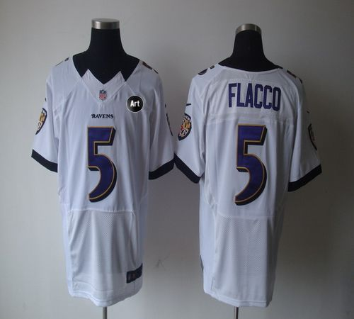 55721f3a3 Nike Ravens  5 Joe Flacco White With Art Patch Men s Embroidered NFL Elite  Jersey!