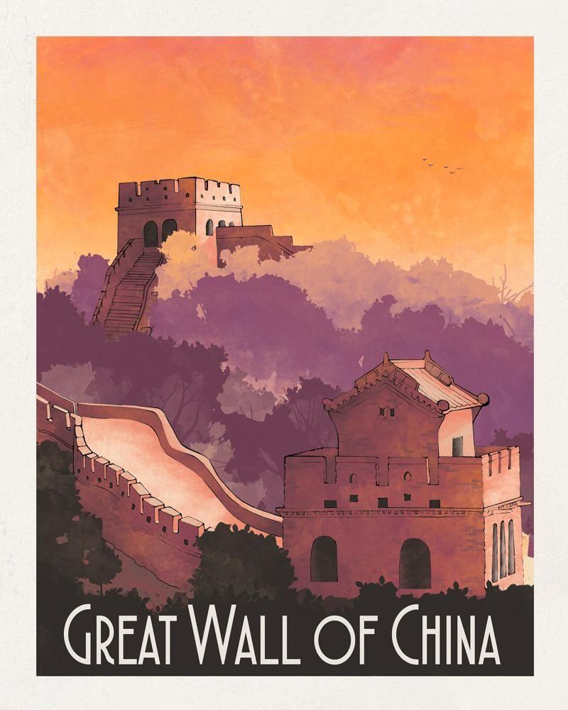 Great Wall Of China Illustration De Ville Affiches De Voyage Affiche Vintage