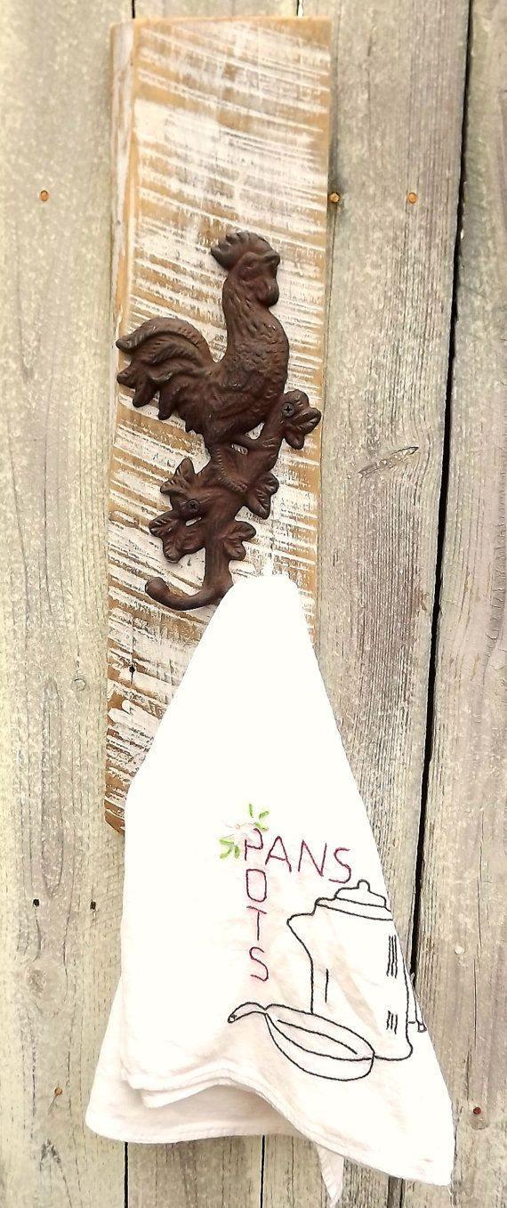 White Washed Barn Wood Cast Iron Rooster by
