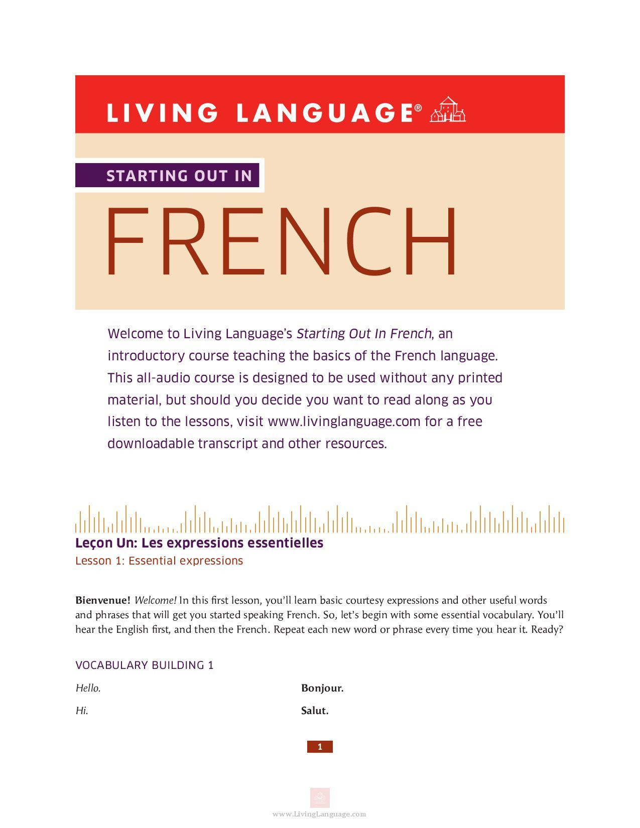 All the french you need to get started in a simple audio
