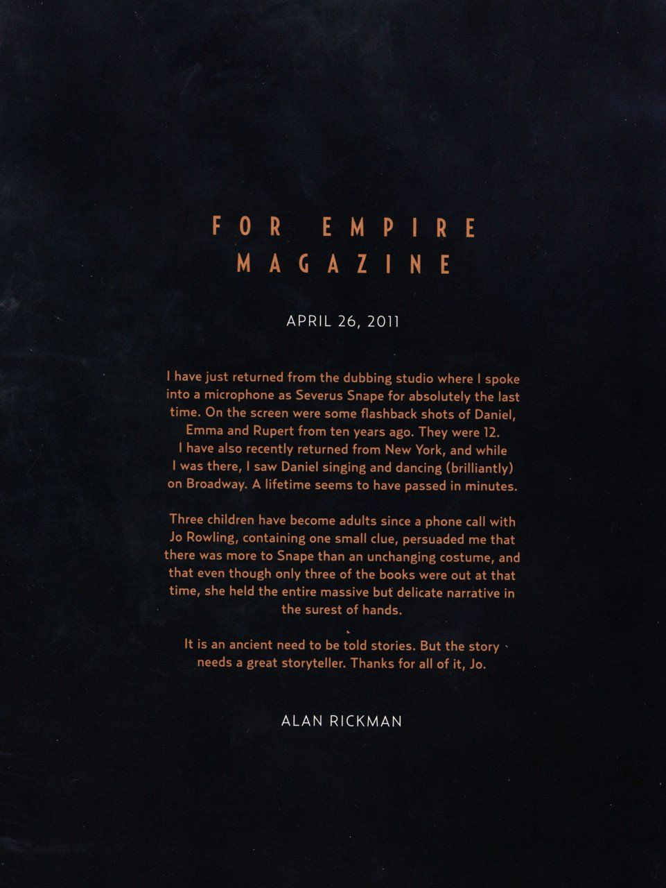 Alan Rickman wrote a heartwarming goodbye letter to Harry Potter