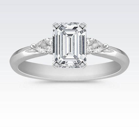 Three Stone Pear Shaped Diamond Engagement Ring Round Diamond Engagement Rings Side Diamond Engagement Ring Dream Engagement Rings