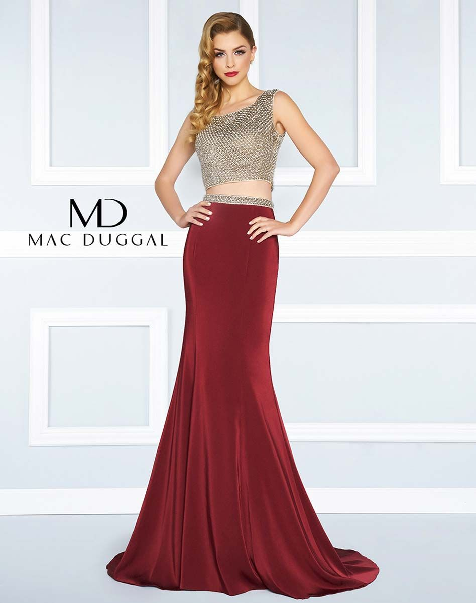 Two piece sleeveless mermaid gown with beaded bodice and waistband