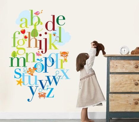 Kids letters alphabet wall decal sticker for nursery and kids rooms apply this alphabet sticker in any flat surface laptop windows doors furniture