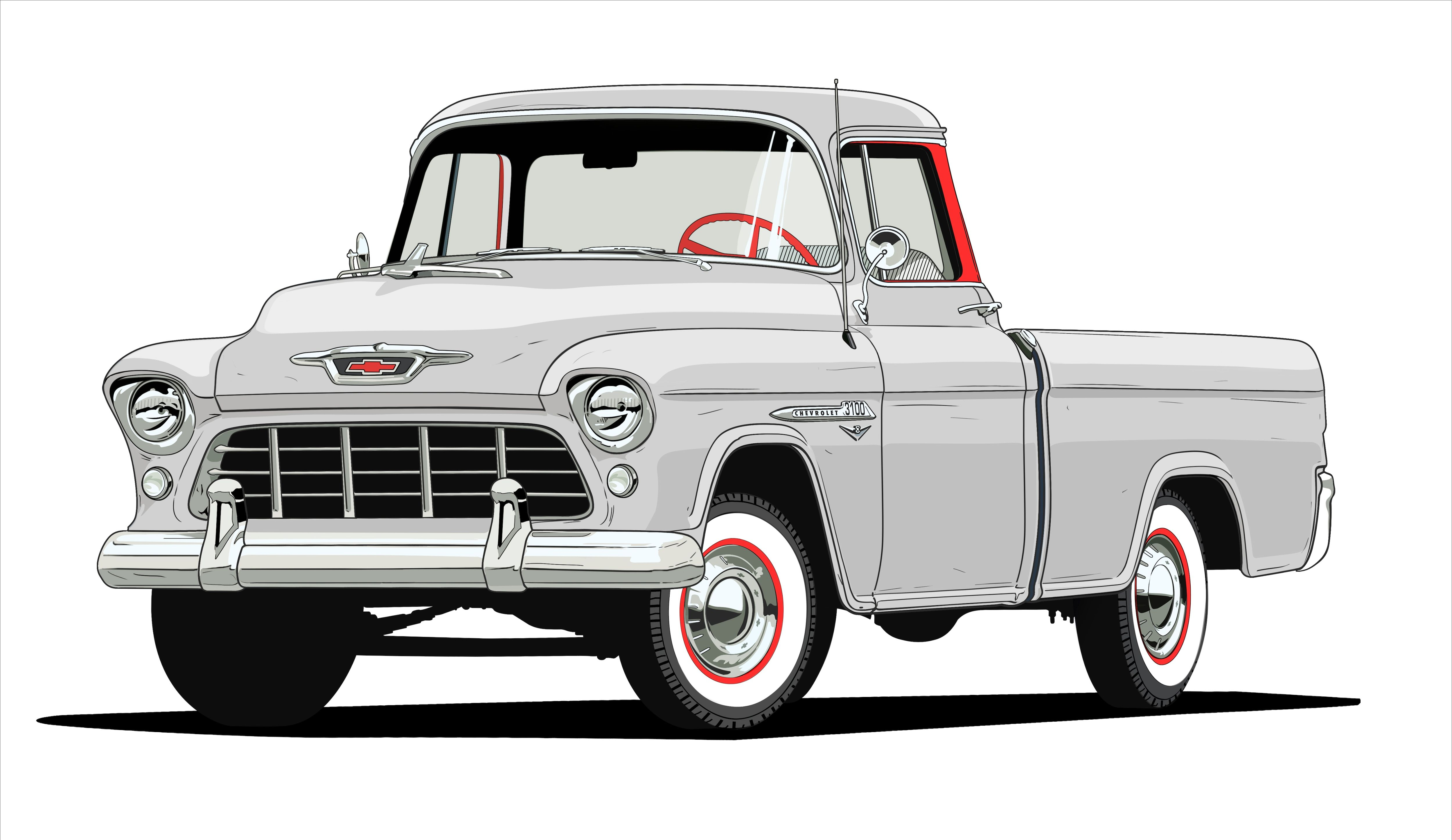 Task Force Era Chevy 3100 Pickup Truck Illustration Chevy Pickup Trucks Classic Chevy Trucks Chevy Trucks
