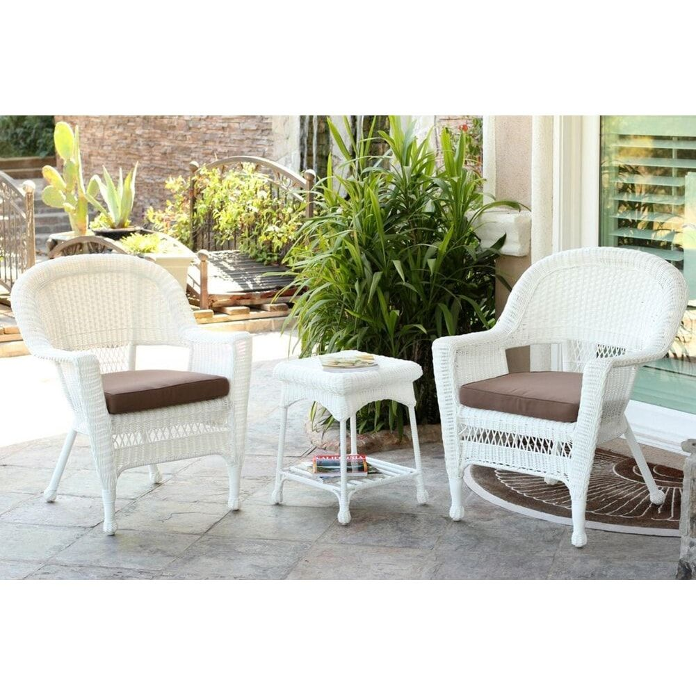 Jeco 3 Piece White Resin Wicker Patio Chairs And End Table Furniture