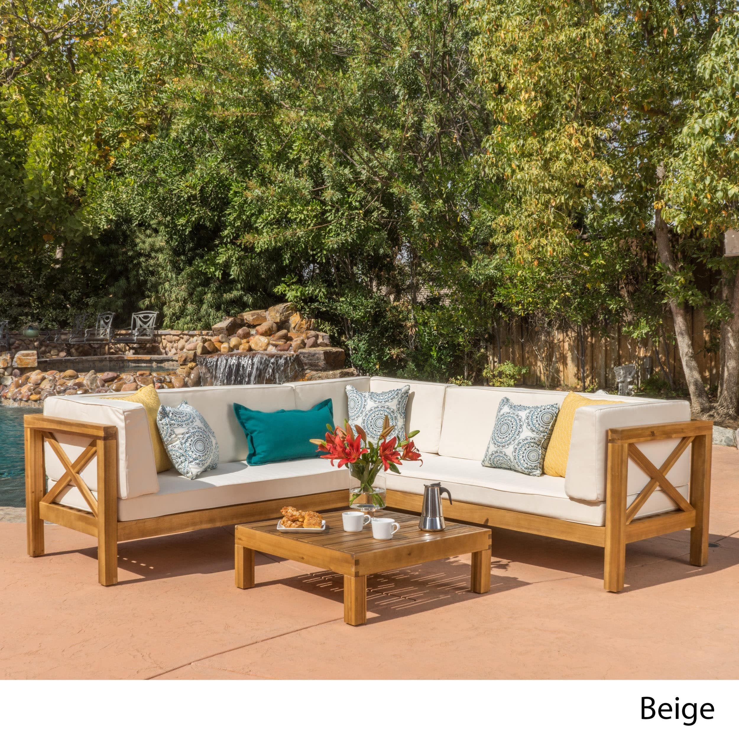 Christopher Knight Patio Furniture.Brava Outdoor 4 Piece Wood Sectional Set W Cushions By Christopher