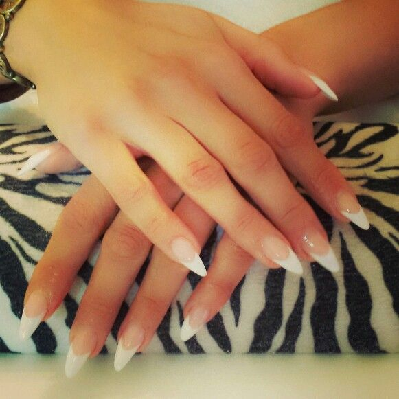 White tips pointed | Nails | Pinterest | Decoración francesa ...