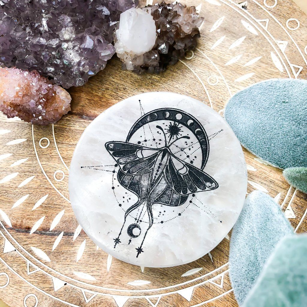 Engraved selenite charging plate diy crochet projects