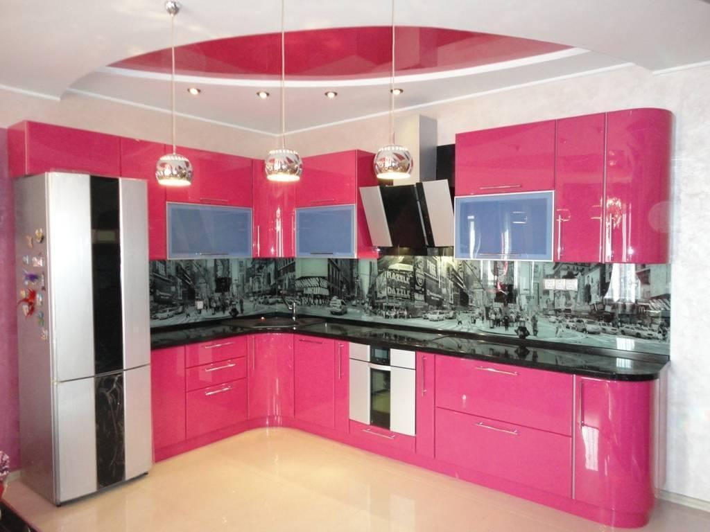 Color Kitchen Beautiful Feminine Color Kitchen Design With Pink Cabinet Storage