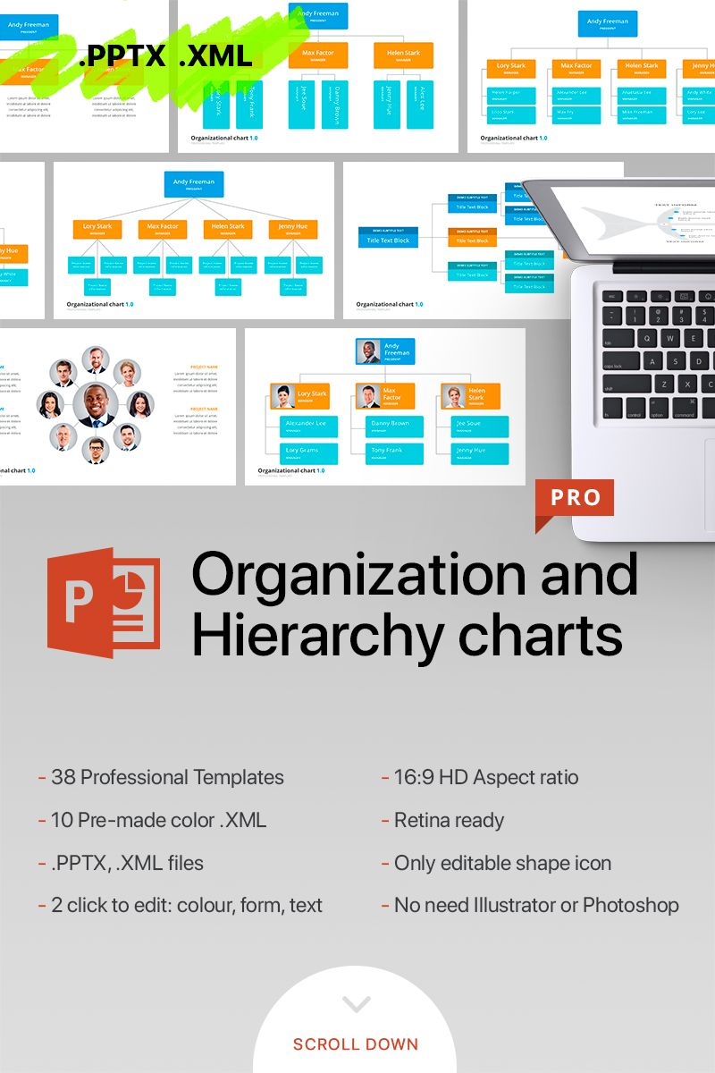 Organizational Chart Hierarchy Powerpoint Template 70618 Powerpoint Templates Organizational Chart Templates