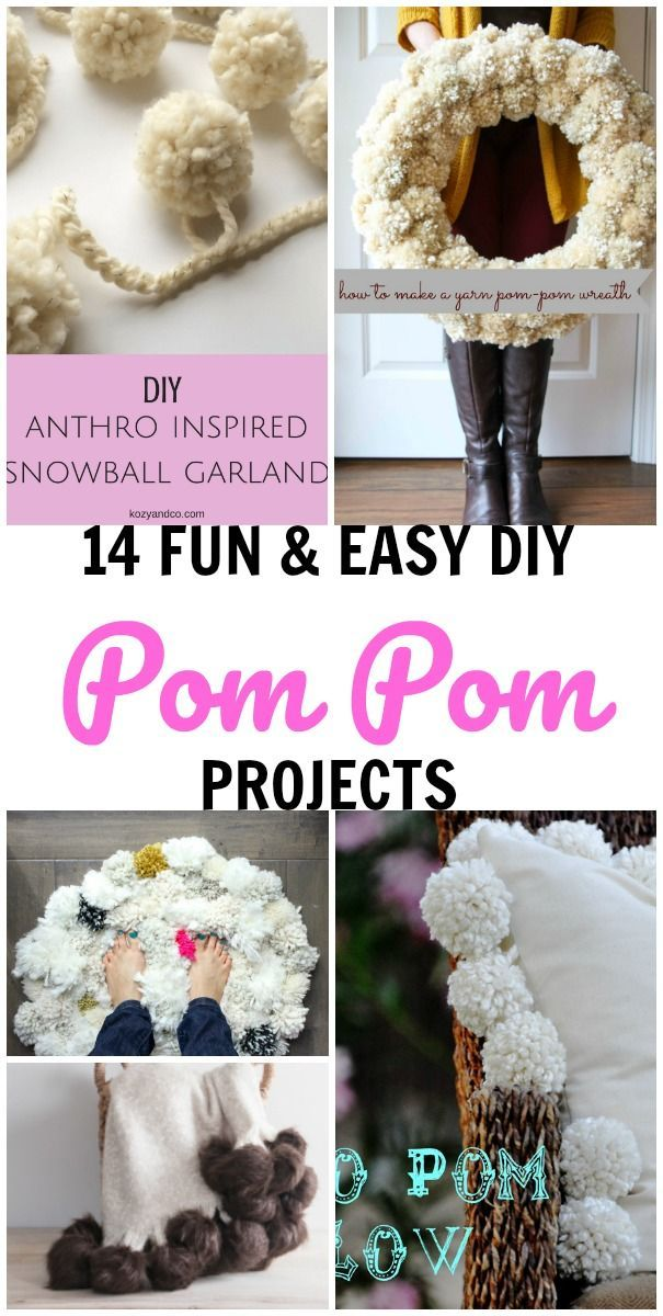 Beautiful DIY Pom Pom Crafts ~ 14 Easy Projects For Your Home | Yarn Pom Poms, Pom  Pom Crafts And Craft Stores