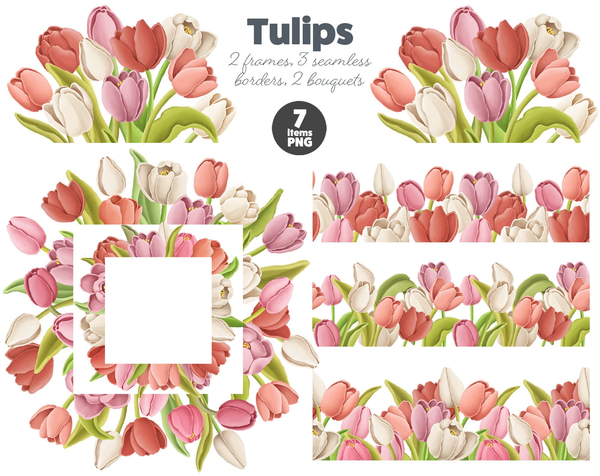 Tulip Frames And Borders Red Tulip Decoration Clipart Flower Etsy In 2020 Flower Border Png Tulips Flowers Flower Border